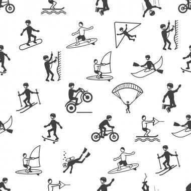 Extreme sports seamless pattern