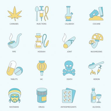 Drugs icons flat line