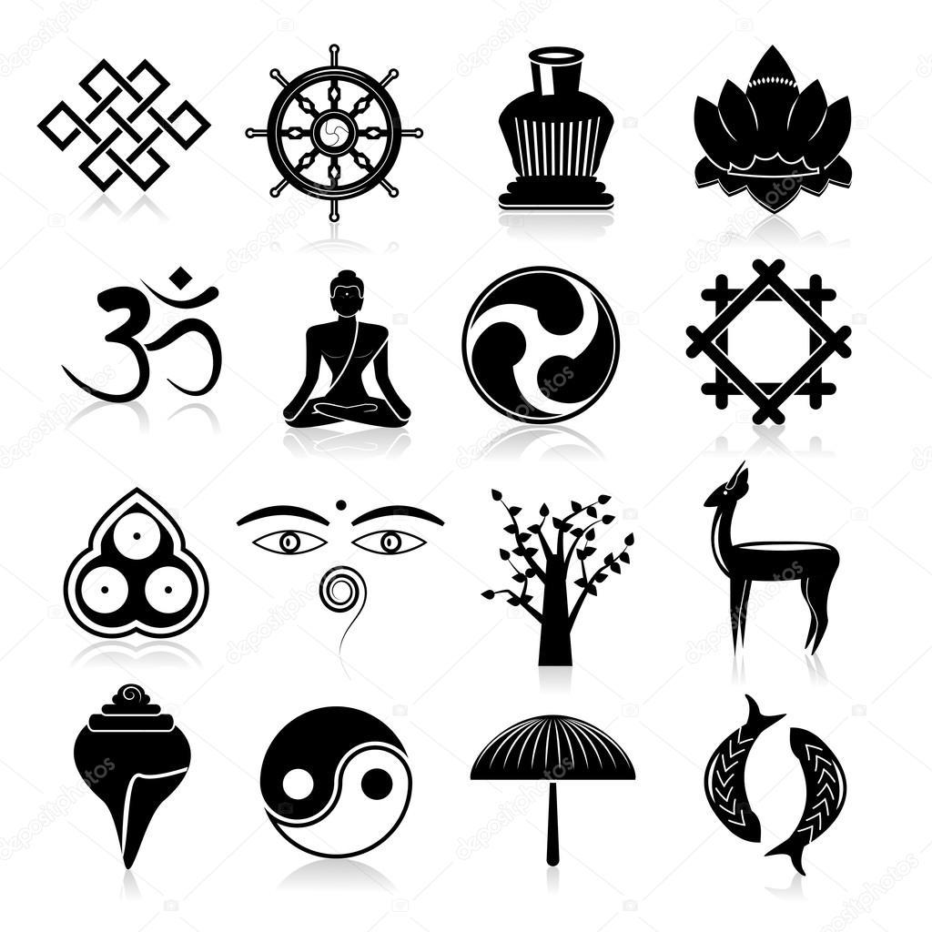 Atemberaubend Buddhismus Symbole set schwarz — Stockvektor © macrovector #53849959 #NV_59