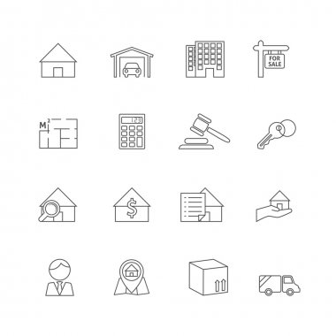 Real estate outline icons set of commercial property business isolated vector illustration stock vector