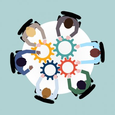 Business team meeting cooperation concept top view group people on table with cogwheels vector illustration clip art vector