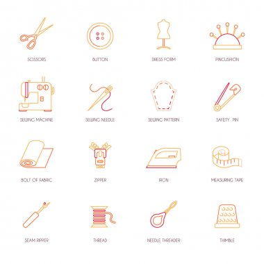 Sewing equipment icons set flat line