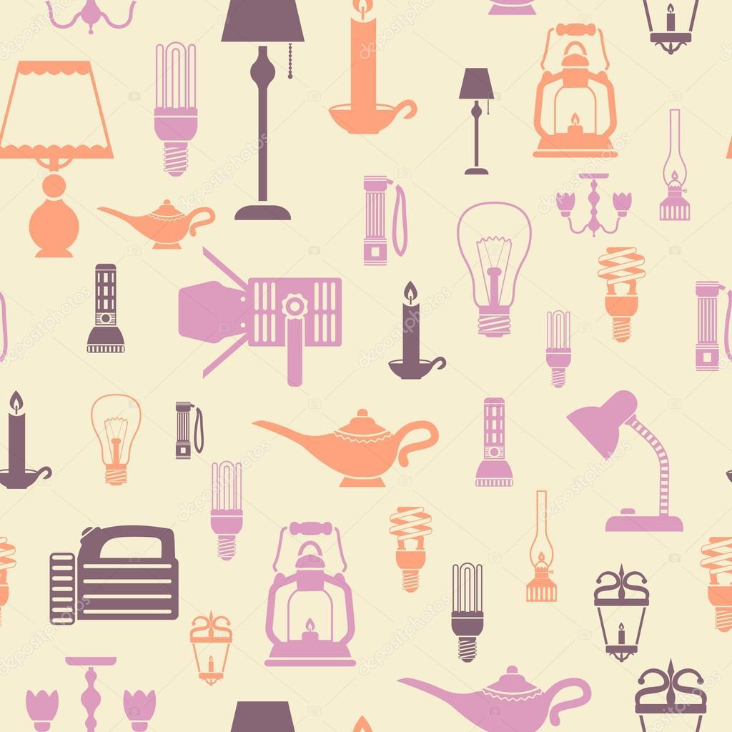 Flashlight and lamps seamless pattern
