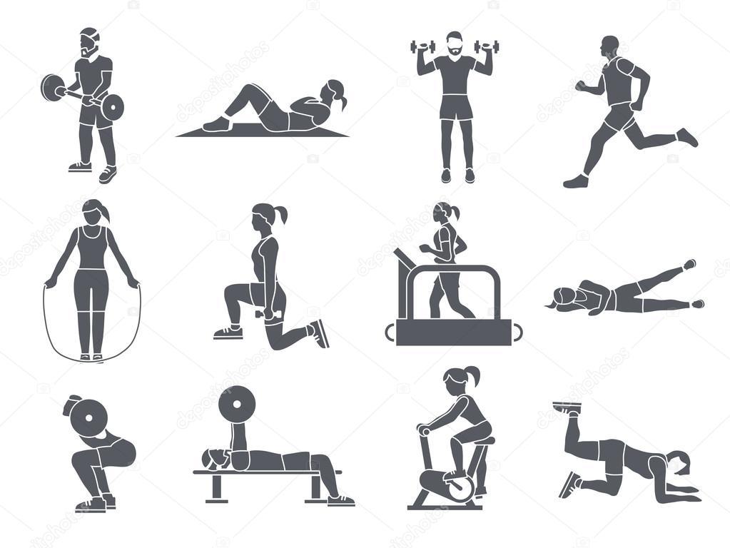 체육관 스포츠 운동 아이콘 — 스톡 벡터 © macrovector #53998115
