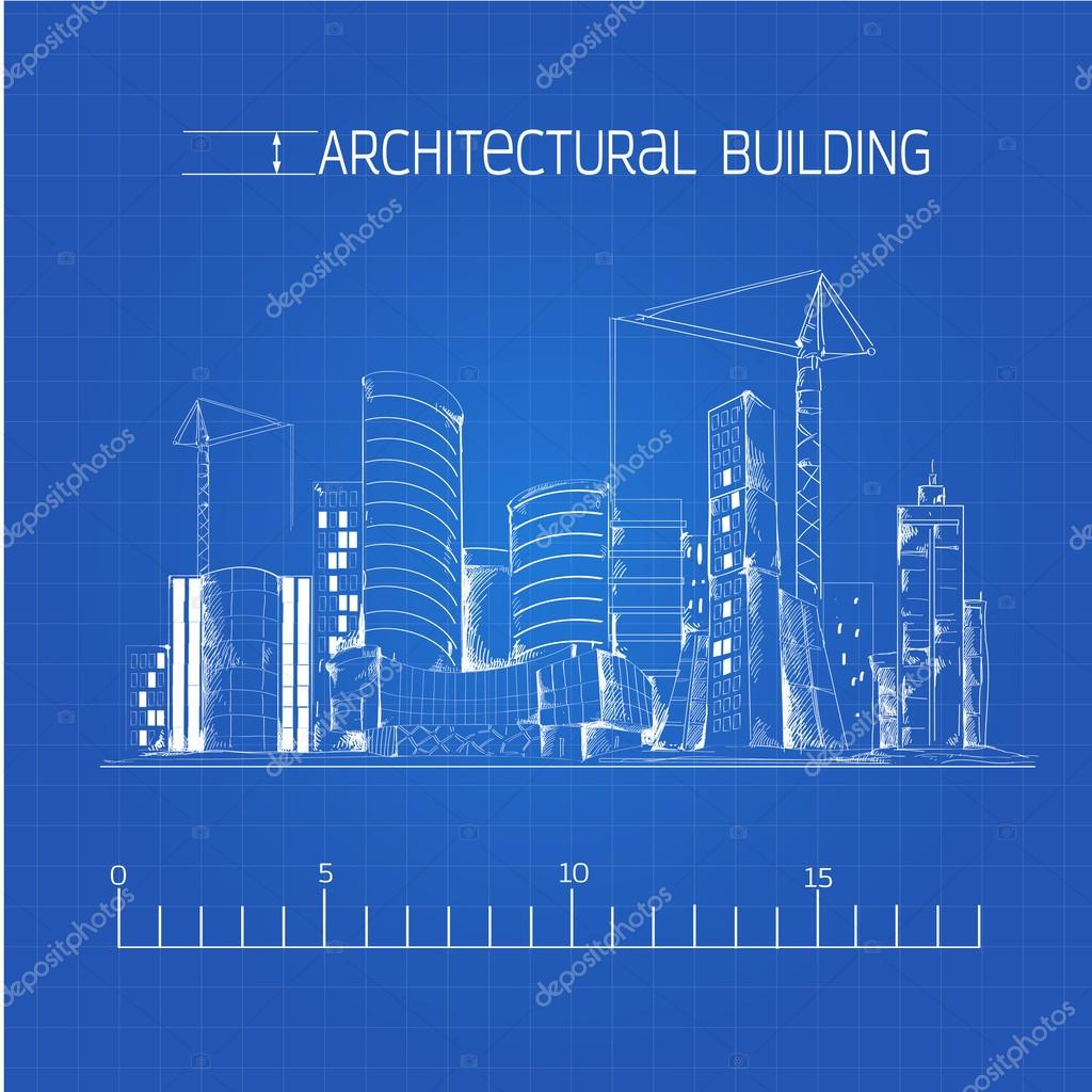 Architectural building blueprint stock vector macrovector 54335405 architectural building blueprint stock vector malvernweather Choice Image