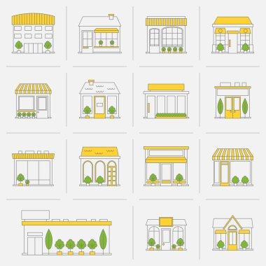 Store building icons set flat line