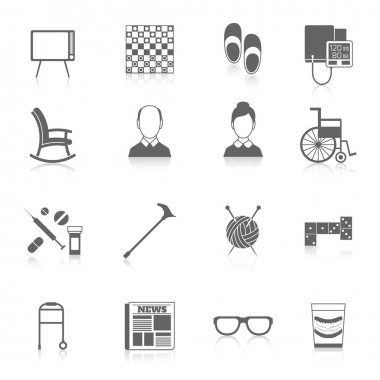 Pensioners life icons black