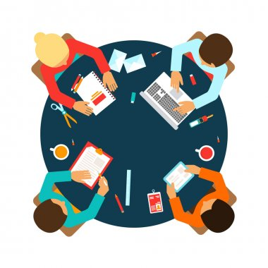 Business men team office meeting concept top view people on table vector illustration clip art vector