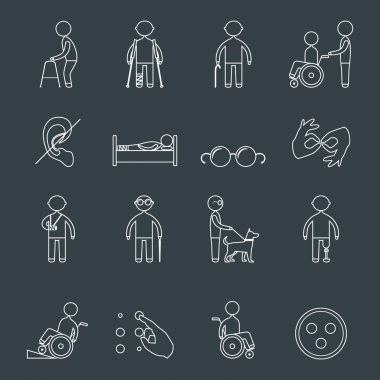 Disabled icons set outline