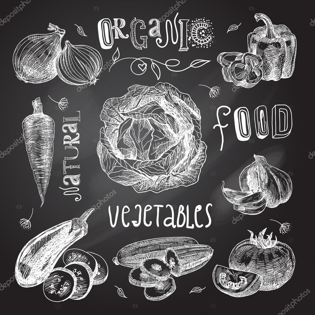 Vegetables sketch set chalkboard