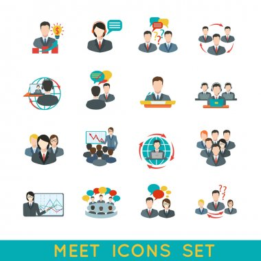 Meeting icons set flat