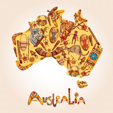 Australia sketch colored background