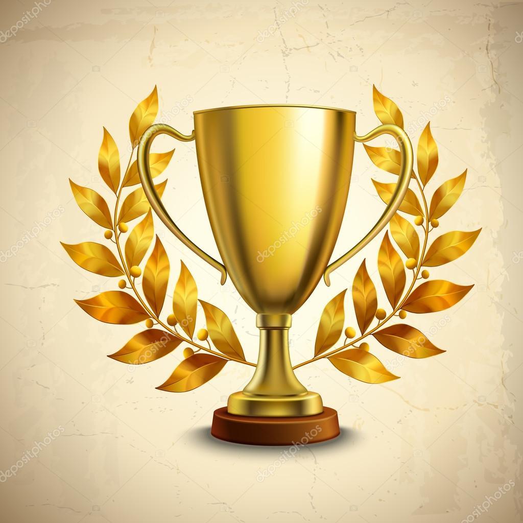 Golden trophy emblem