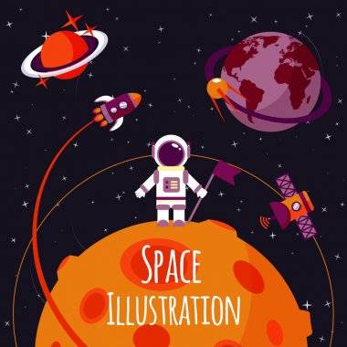 Space concept with astronaut on moon and rocket satellites on orbit flat vector illustration stock vector
