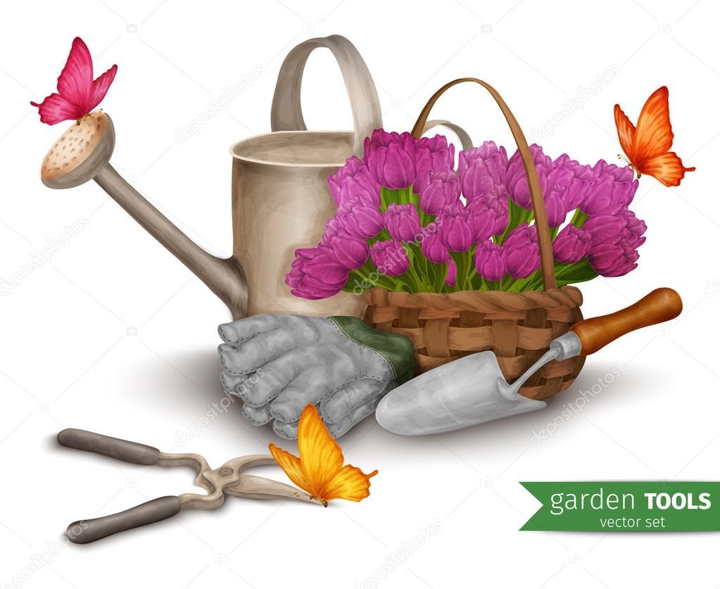 Garden tools background