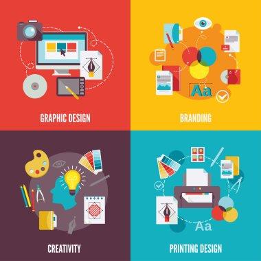 Graphic design icons flat