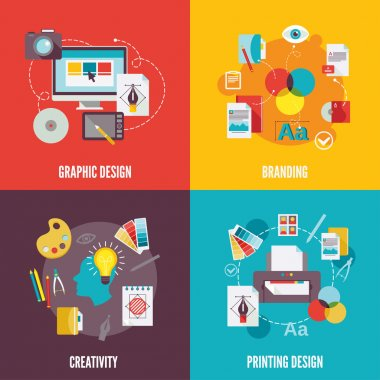 Graphic design flat icons set with branding creativity printing isolated vector illustration stock vector