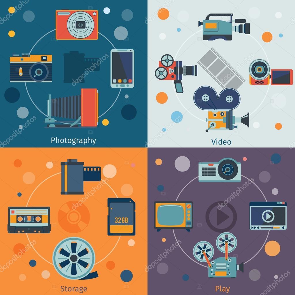 Photo video icons flat