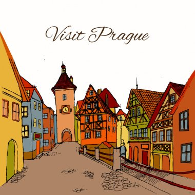 Old town postcard