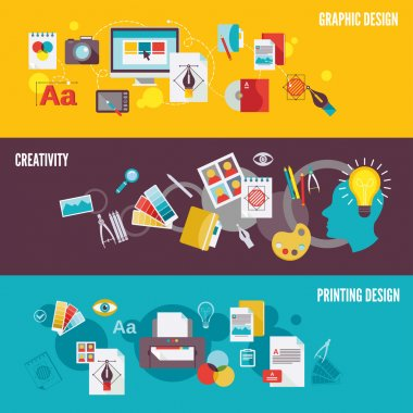 Graphic design digital photography banner set with creativity printing isolated vector illustration clip art vector
