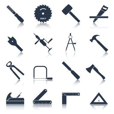 Carpentry tools icons black