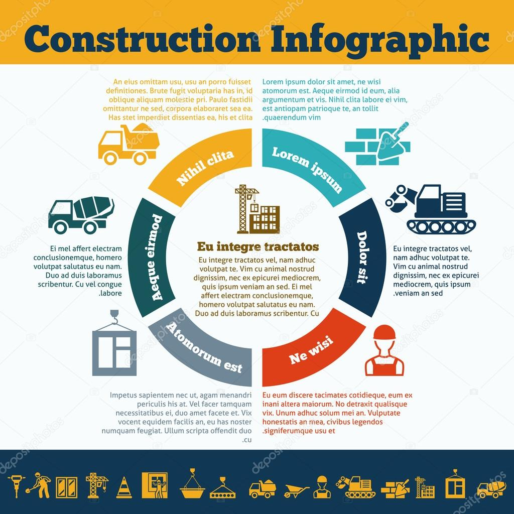 Construction infographic print stock vector for Construction info