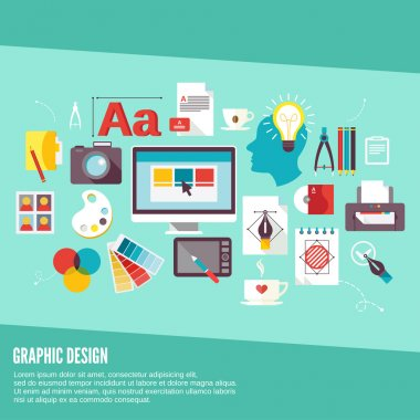 Graphic design concept icons set with palette creativity process digital designer isolated vector illustration stock vector