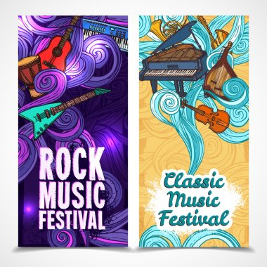 Classic and rock music festival vertical banners set with instruments isolated vector illustration stock vector