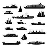 Lodě a čluny sada černá a bílá