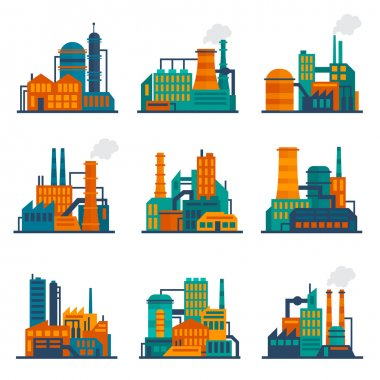 Industrial building icons set flat