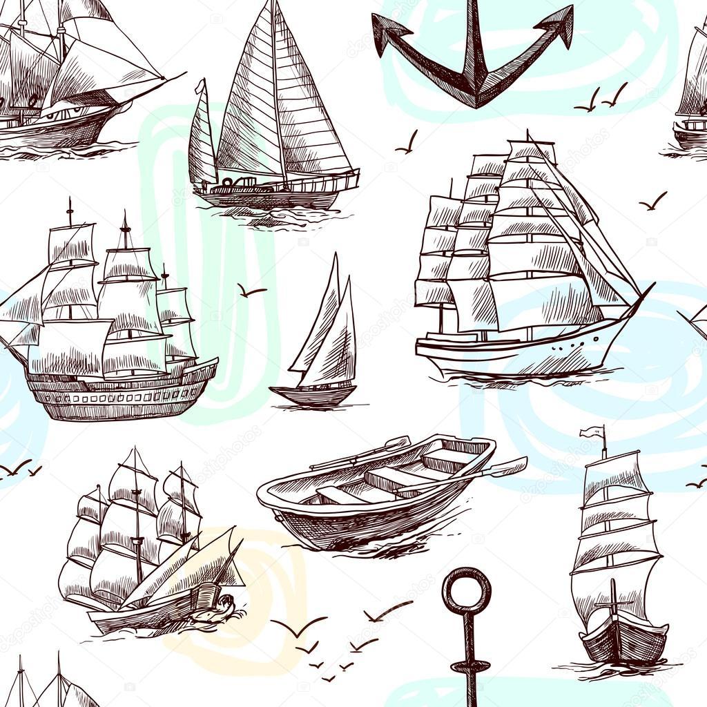 Barcos y embarcaciones bosquejo de patrones sin fisuras — Vector de ...