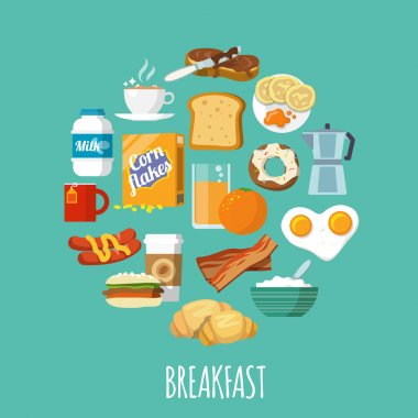 Breakfast concept with fresh food and drinks flat icons set vector illustration stock vector