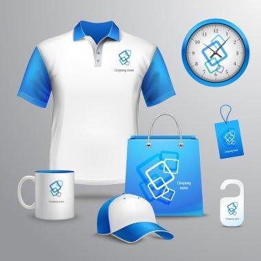 Corporate identity blue template decorative set with t-shirt clock cap vector illustration stock vector