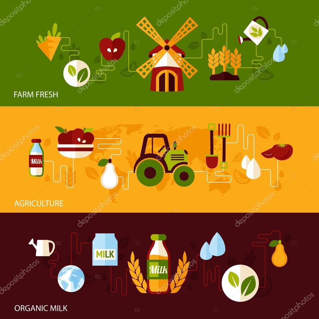 Agriculture banner set