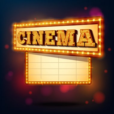 Retro cinema marquee neon lights advertising sign background vector illustration stock vector