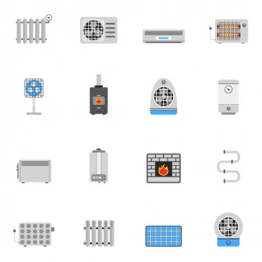 Heating and cooling air conditioning equipment flat icon set isolated vector illustration clip art vector
