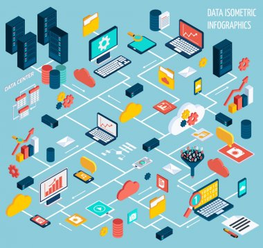 Data infographic isometric set with data center and network elements vector illustration stock vector