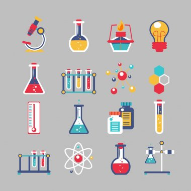 Chemistry decorative icons set with chemical lab scientific experiment equipment isolated vector illustration stock vector