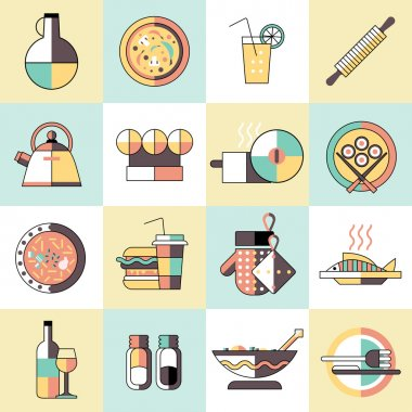 Cooking food icons flat line
