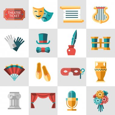 Theatre acting performance icons set with  ticket masks flat isolated vector illustration. stock vector
