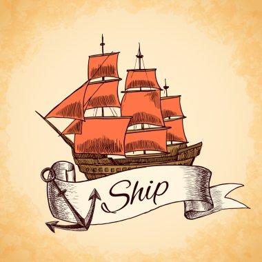 Tall ship emblem