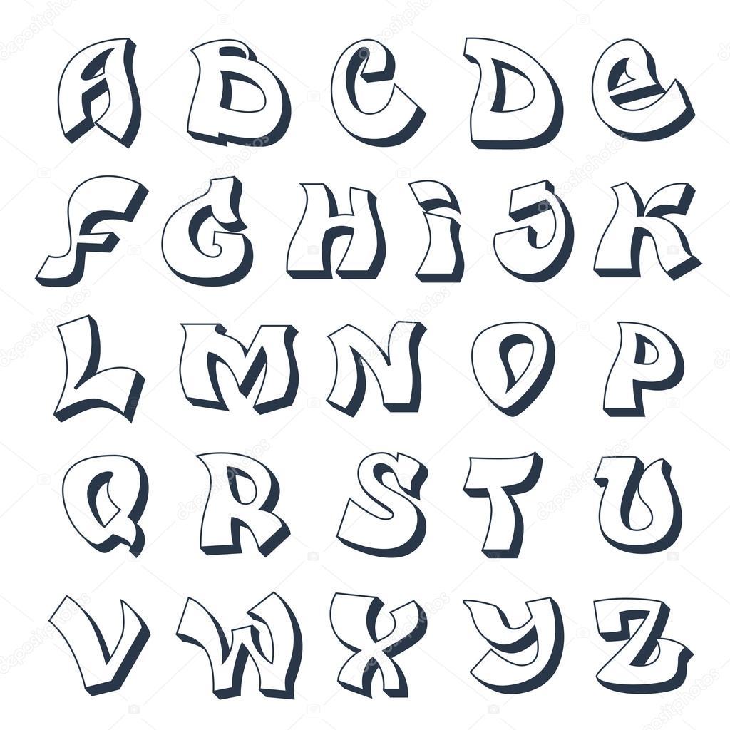 Conhecido Alfabeto de graffiti blanco — Vector de stock © macrovector #58332153 EF19