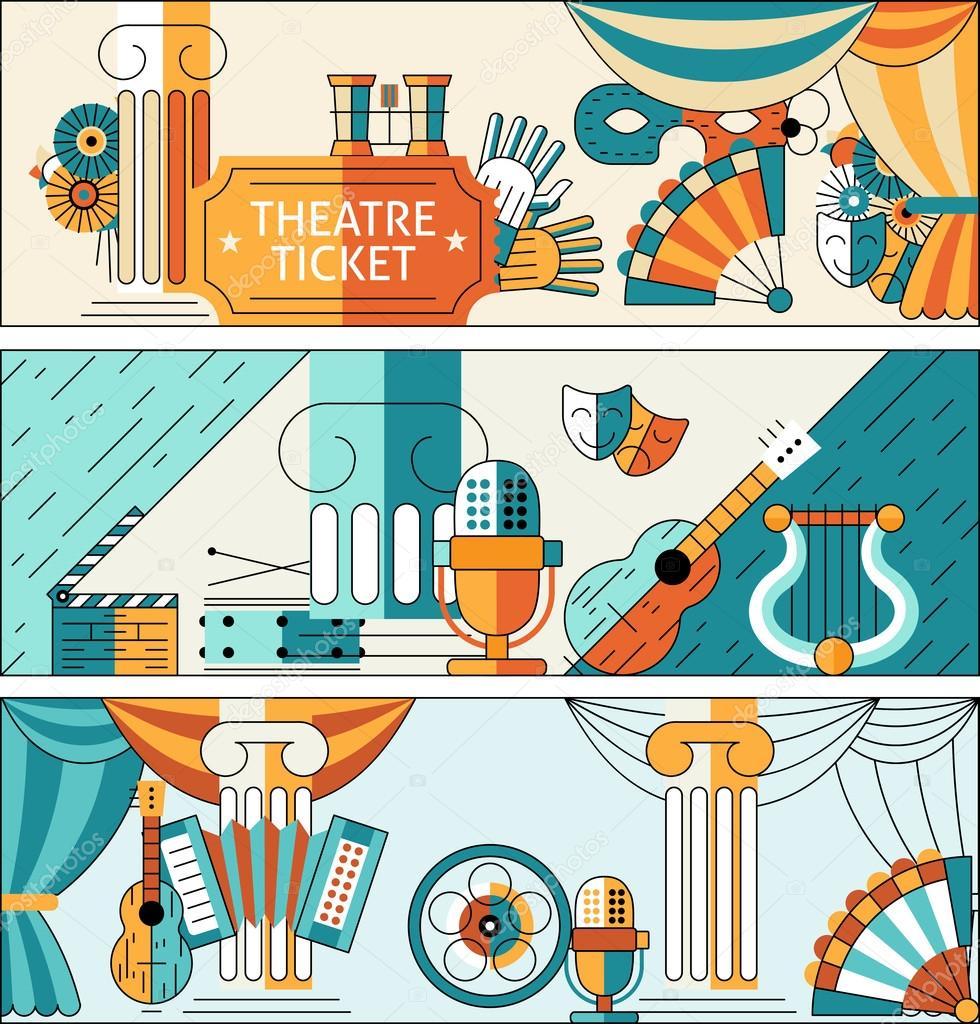 Theatre flat line banner set