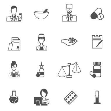 Pharmacist icon black set