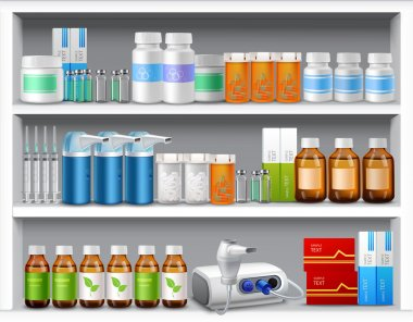 Pharmacy shelves realistic