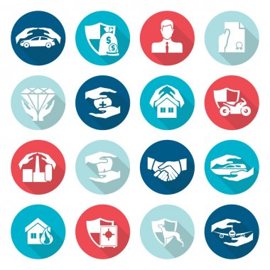 Insurance icons flat