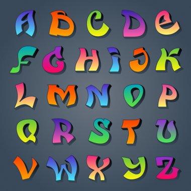 Graffiti alphabet colored