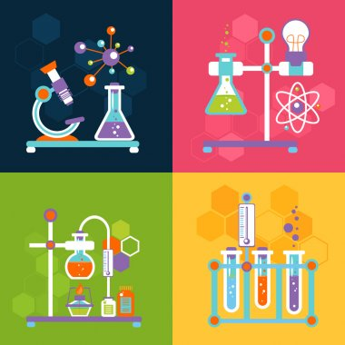 Chemistry decorative flat icons set with lab test and research equipment isolated vector illustration stock vector
