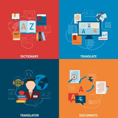 Translation and dictionary flat icons composition
