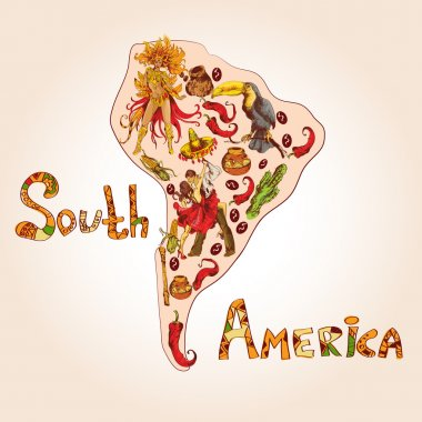South america sketch concept